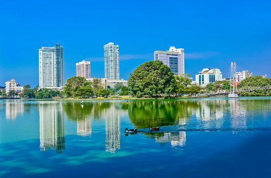 Colombo Beira Lake And Skyline, A Lake In The Heart Of The City Of Colombo.