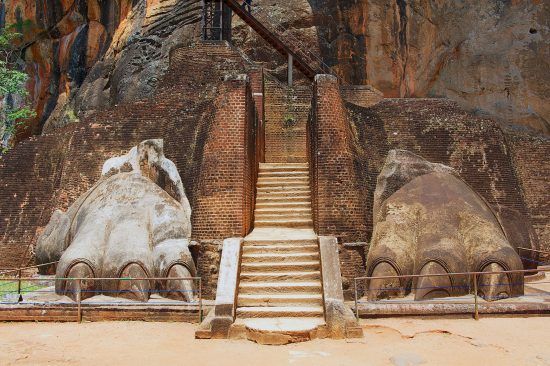 Exterior of the entrance to the Sigiriya Rock Fortress.