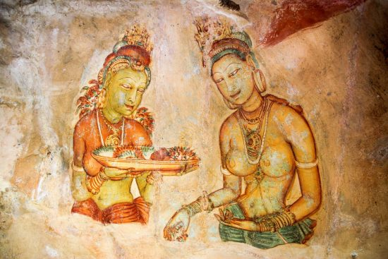 Wall art in Sigiriya, an ancient rock fortress in Sri Lanka