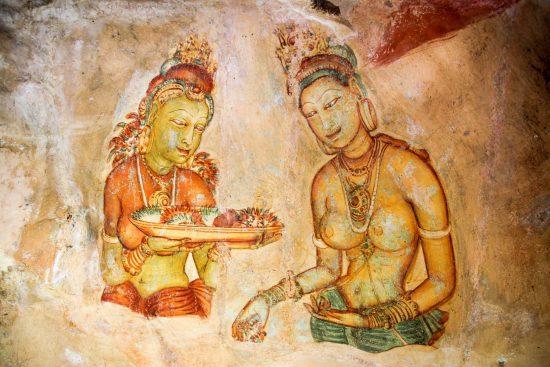 Wall art in Sigiriya, an ancient rock fortress in Sri Lanka