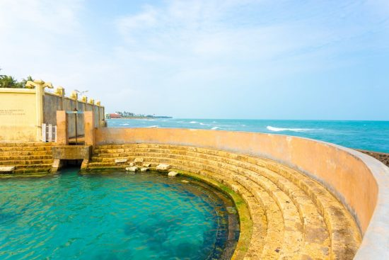 Ocean view seen from edge of Keerimalai Hot Springs on the northern coast of Jaffna, Sri Lanka.